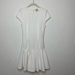 Torn by Ronny Kobo White Drop Waist Pleated Dress